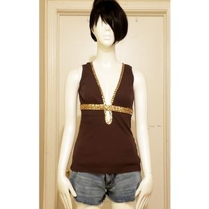Forever 21 Brown and Gold beaded Top